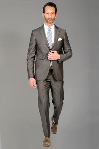 Brown suit wool-silk Angelico