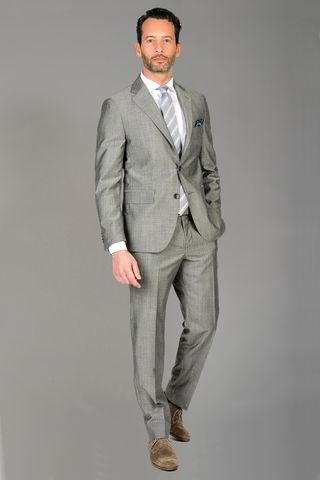 Grey suit wool-silk Comfort Angelico