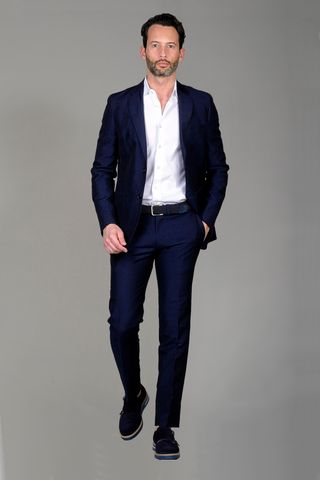 Navy suit linen-wool long Angelico