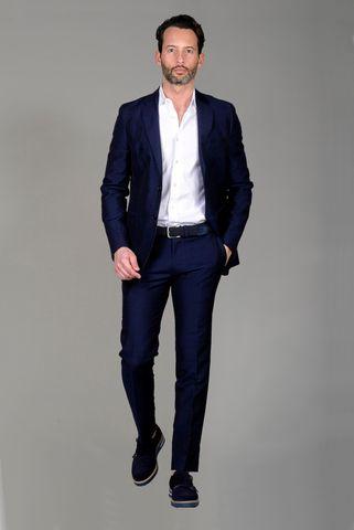 navy suit linen-wool long Angelico