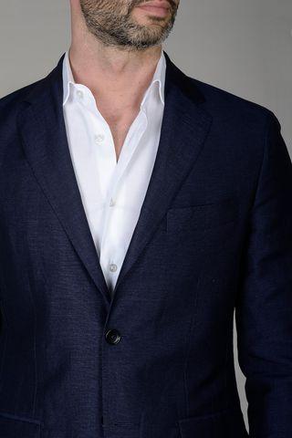 abito blu lino-lana lungo Angelico