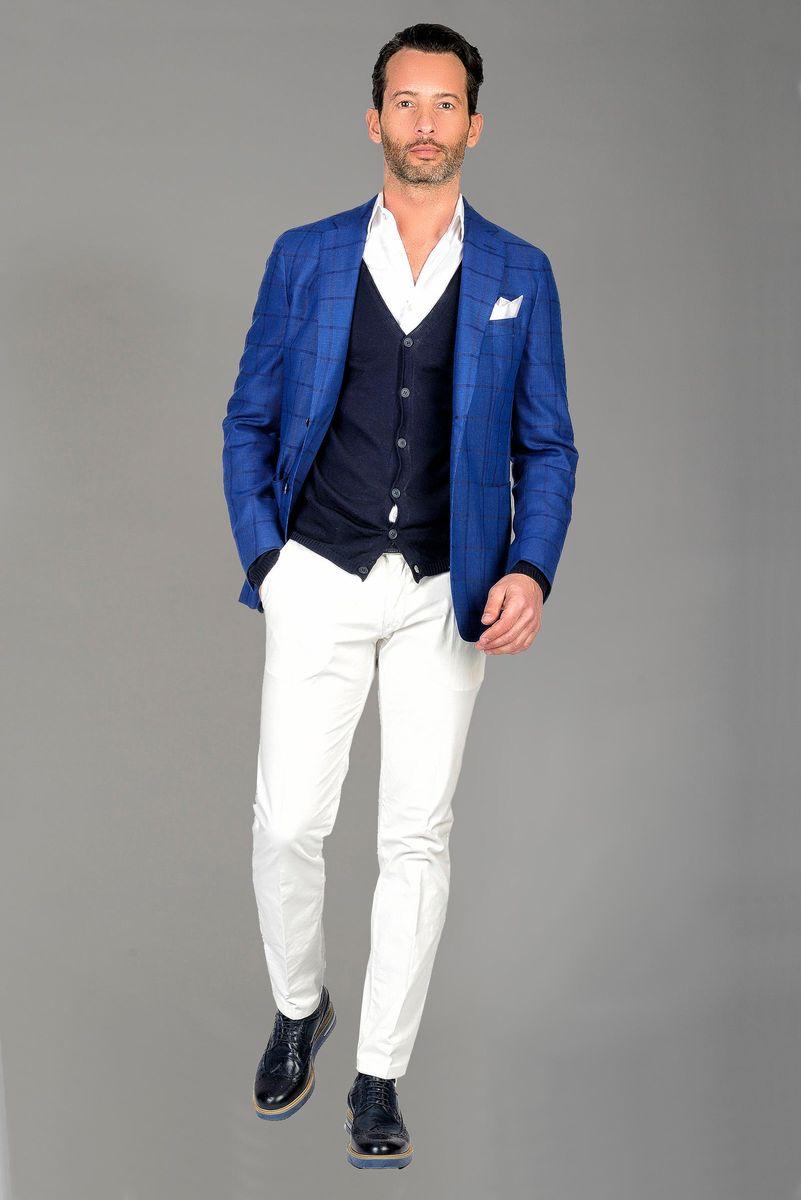 blazer bluette quadri lana Angelico