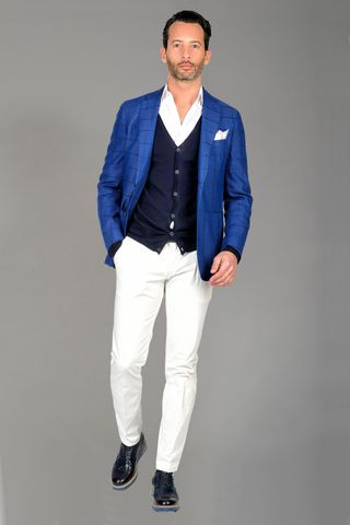 Royal blue squared jacket Angelico