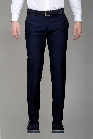 blue trousers linen-wool slim Angelico