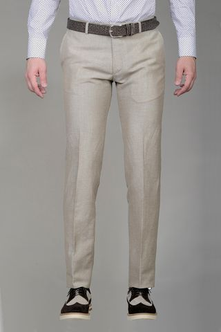 Natural trousers linen-wool slim Angelico