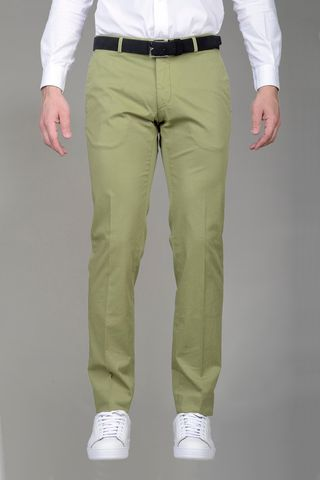 Light green trousers dyed cotton slim Angelico
