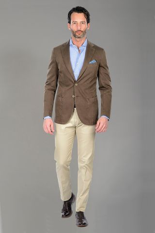 Brown jacket dyed cotton slim Angelico