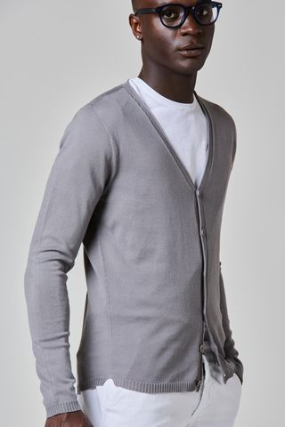 gray cotton buttoned cardigan Angelico