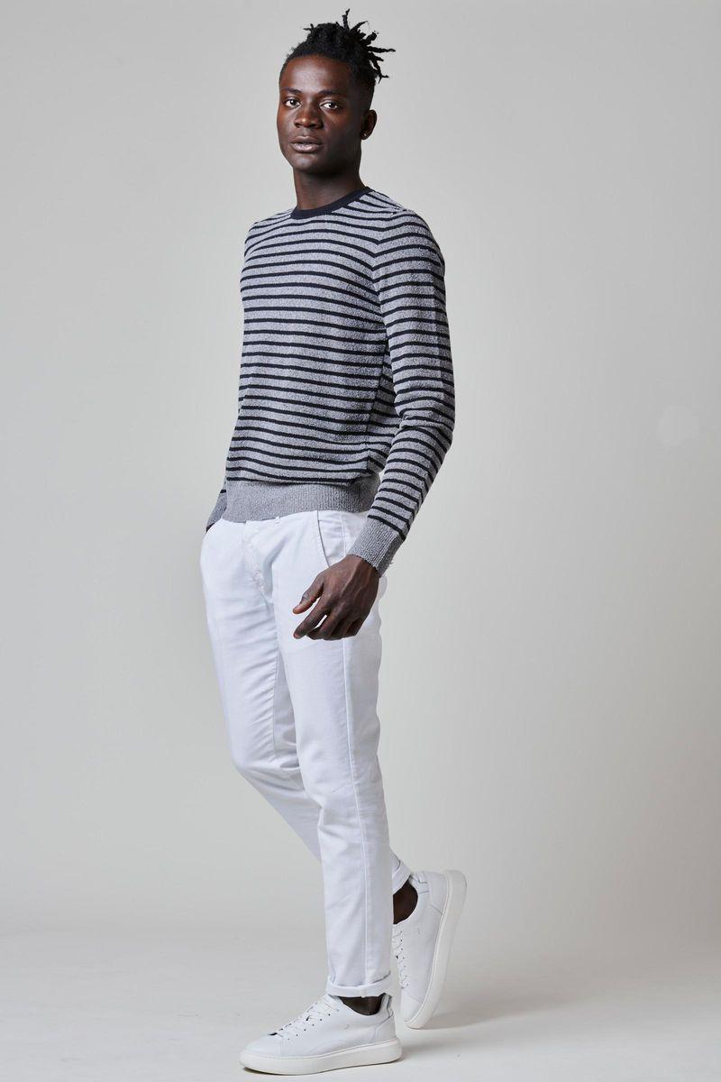 maglia rigata grigio-nera cotone Angelico