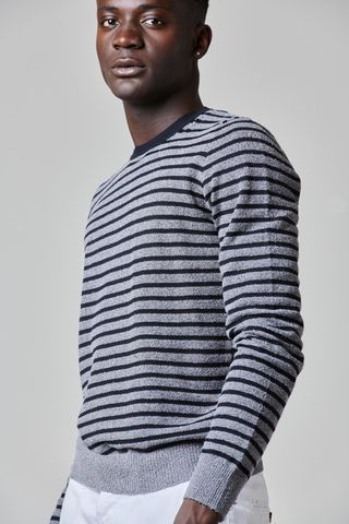 gray-black cotton striped sweater Angelico