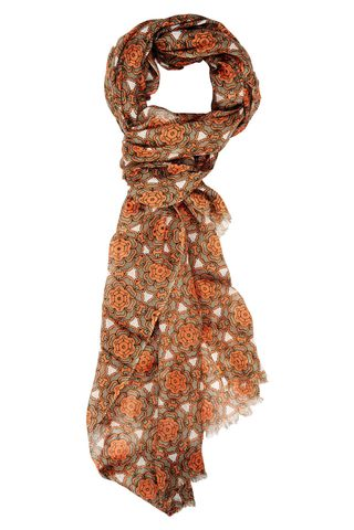 orange scarf with beige flowered patterns Angelico