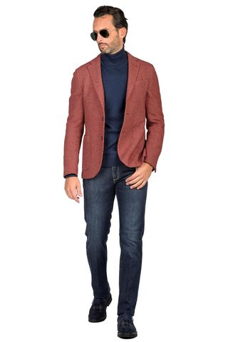 Red jacket fancy wool slim Angelico