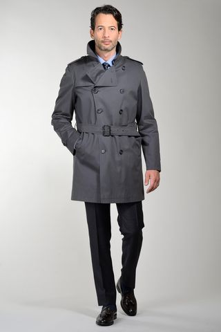 gray trench coat with detachable padding Angelico