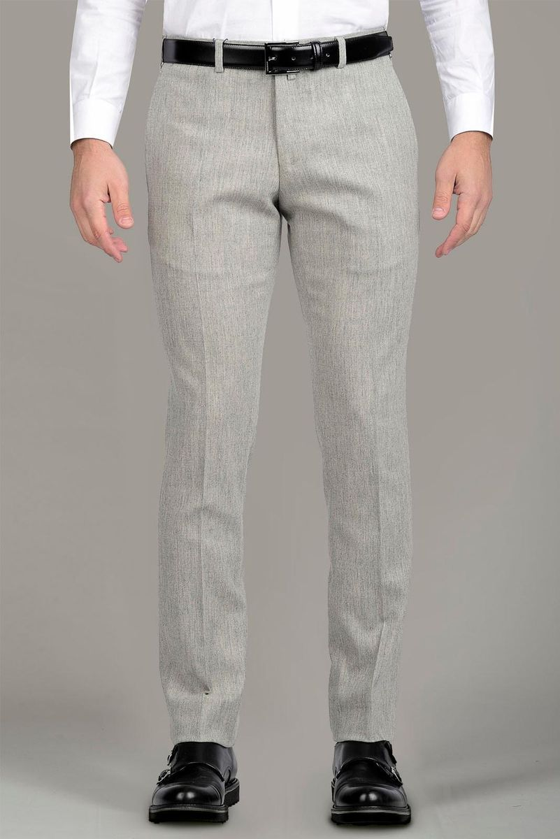 light grey stretch flannel trousers slim Angelico