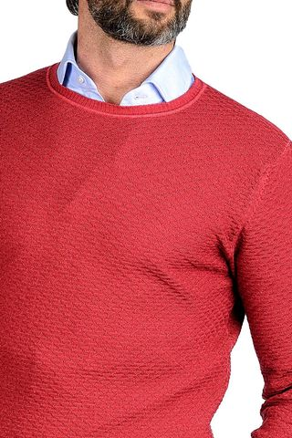 maglia rossa merino tinto capo operata Angelico