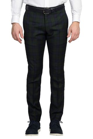 Pantalone quadri verde-blu lana slim Angelico