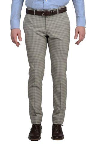 Pantalone beige a quadri lana slim Angelico