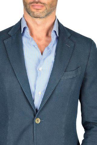 sugar blue cotton jacket slim Angelico