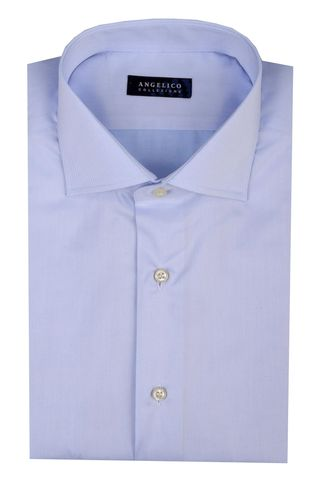 Camicia azzurra twill collo francese slim Angelico
