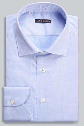Light blue twill shirt  Italian collar Angelico
