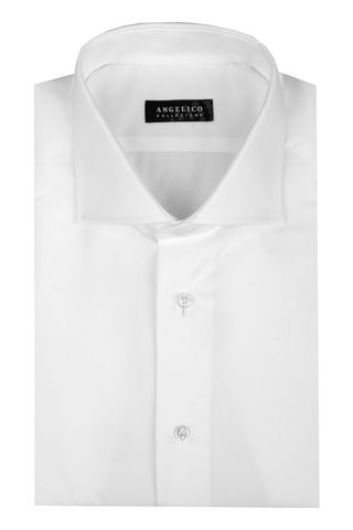White twill shirt french collar Angelico