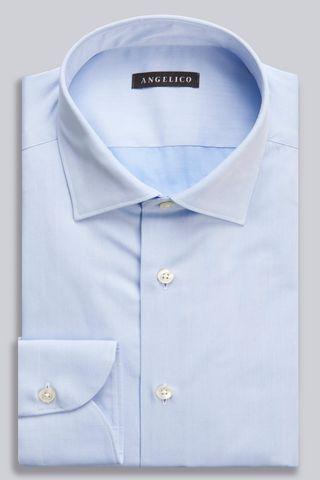 Light blue twill shirt Italian collar slim Angelico