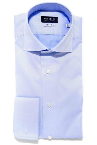 light blue shirt double cuff Angelico