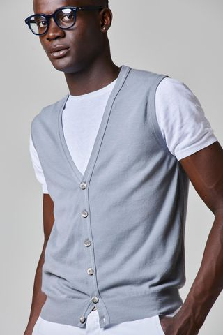 gray cotton vest with buttons Angelico