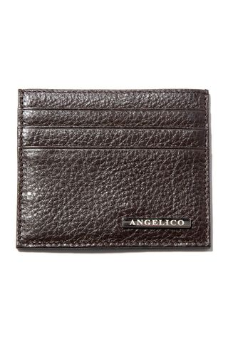 Brown leather credit card holder Angelico