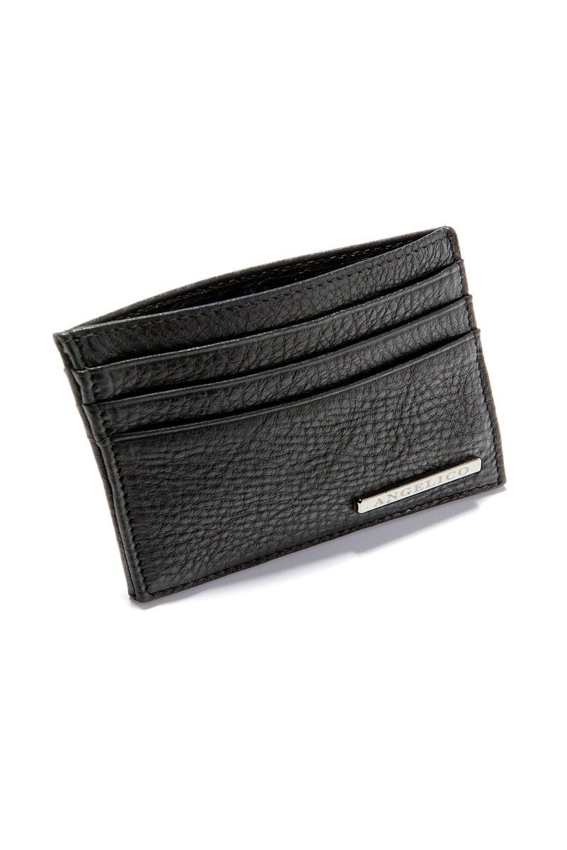 black leather credit card holder Angelico