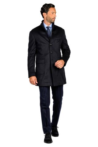 navy wool-cachemire unlined coat Angelico