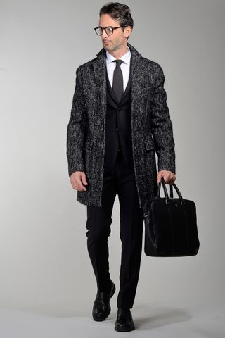 black melange unlined coat with martingale Angelico