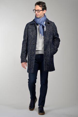 cappotto blu sfoderato melange Angelico
