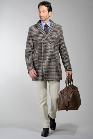 short brown coat double-breasted patterned Angelico