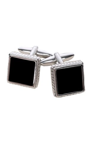 squared cufflinks with black insert Angelico