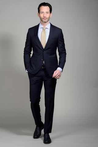Dark blue suit 100s slim long Angelico