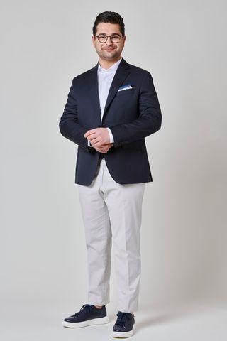 Navy blazer wool 100s comfort Angelico