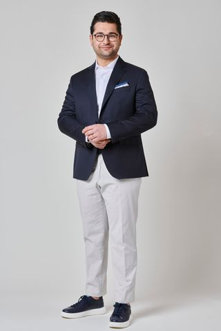 Blazer blu lana 100s comoda Angelico