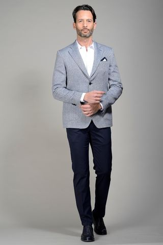 Blue linen jacket harrigbone Angelico