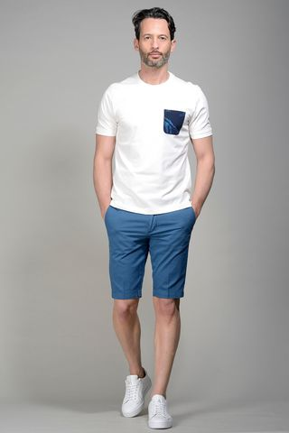 White t-shirt navy fancy pocket Angelico