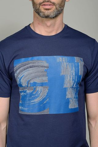 navy t-shirt royal print Angelico