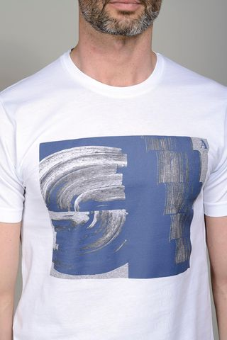 white t-shirt blue print Angelico
