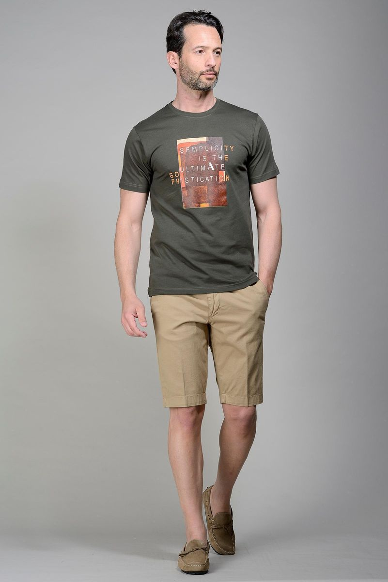 dark green t-shirt with central print Angelico