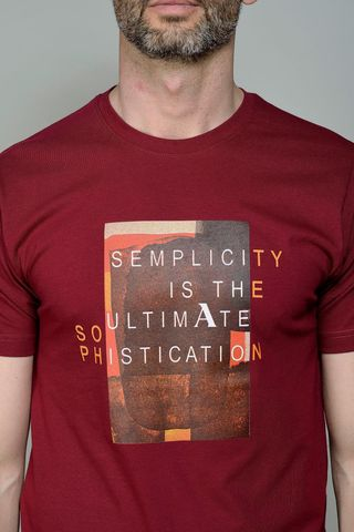 burgundy t-shirt with central print Angelico