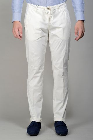 White satin trousers slim with drawstring