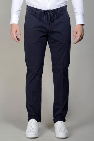 Blu trousers slim with drawstring Angelico
