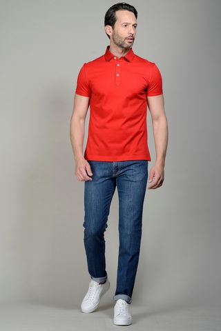 Red pique polo lisle cotton Angelico