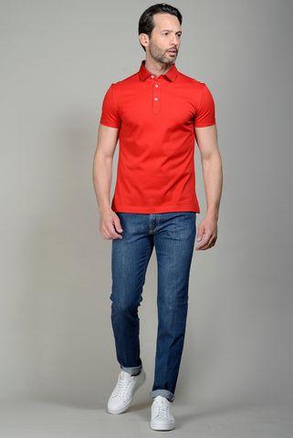 red pique polo lisle cotton Angelico