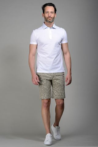 White pique polo lisle cotton Angelico