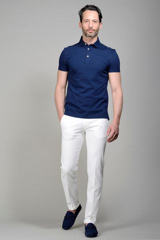 Navy pique polo lisle cotton Angelico